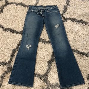 HUDSON FLARE JEANS WITH DISTRESSING